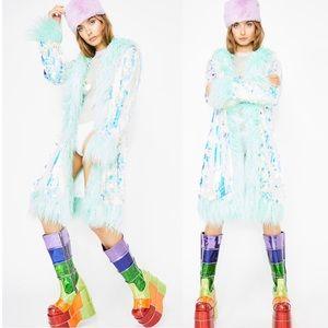 Dolls Kill Jackets & Coats - Dolls Kill 💠 Iridescent Sequin Fur Jacket